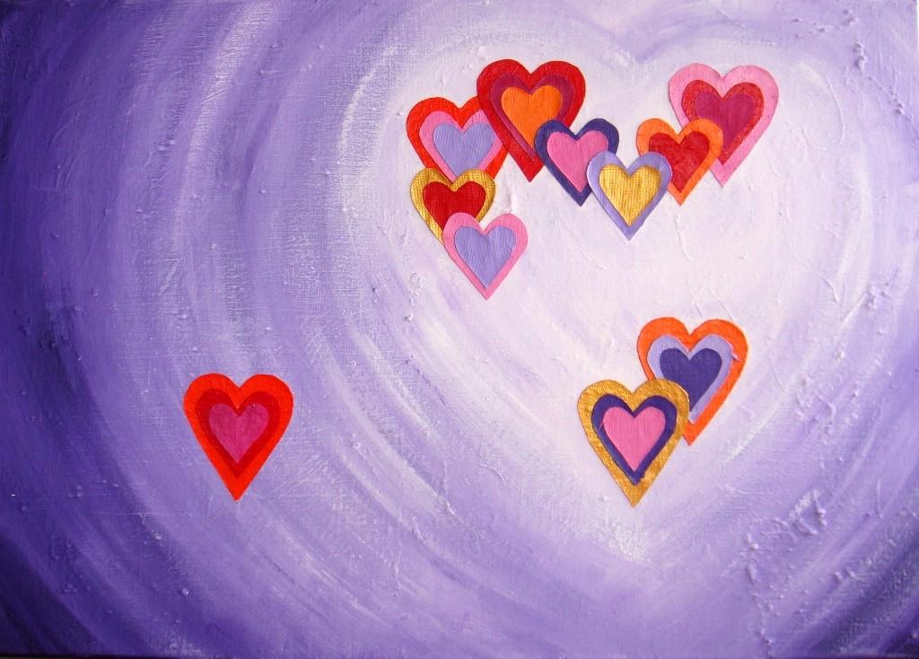 Abstract, kleurrijk 3D schilderij van 70 x 100 x 4 cm met een hart van linnen hartjes erop.