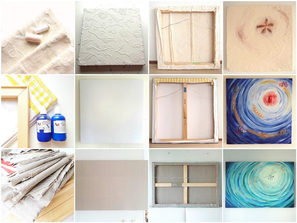 Oude stof hergebruiken voor het maken van een schilderscanvas - Voorbeelden