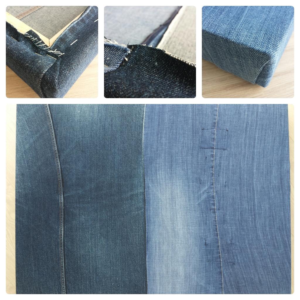 Een canvas schildersdoek van oude spijkerbroeken