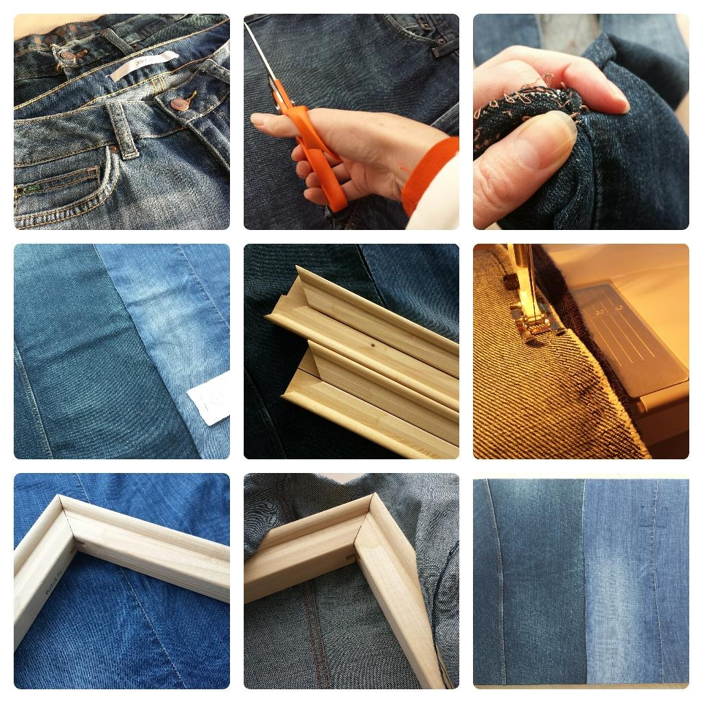 Een canvas schildersdoek maken van oude spijkerbroeken in 7 stappen