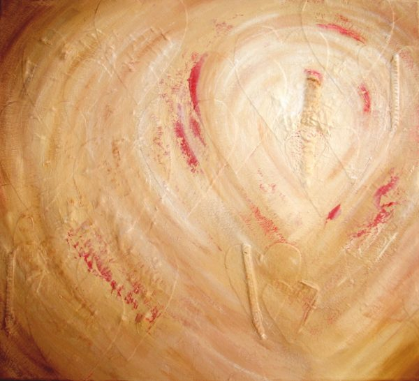 Spoor van liefde is een abstract, kleurrijk 3D schilderij in naturel-, aardetinten en rood met harten erop.
