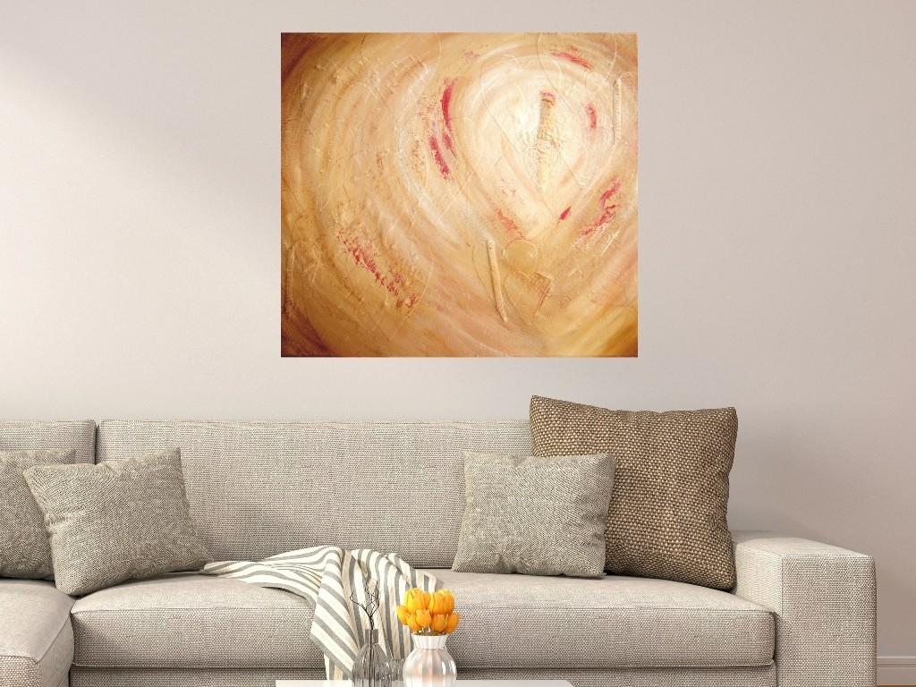 Abstracte schilderijen reliëf - Spoor van liefde I boven bank