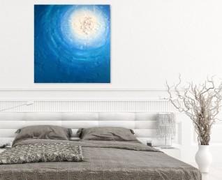 Moderne blauwe schilderijen - Schilderij Zee van liefde in slaapkamer