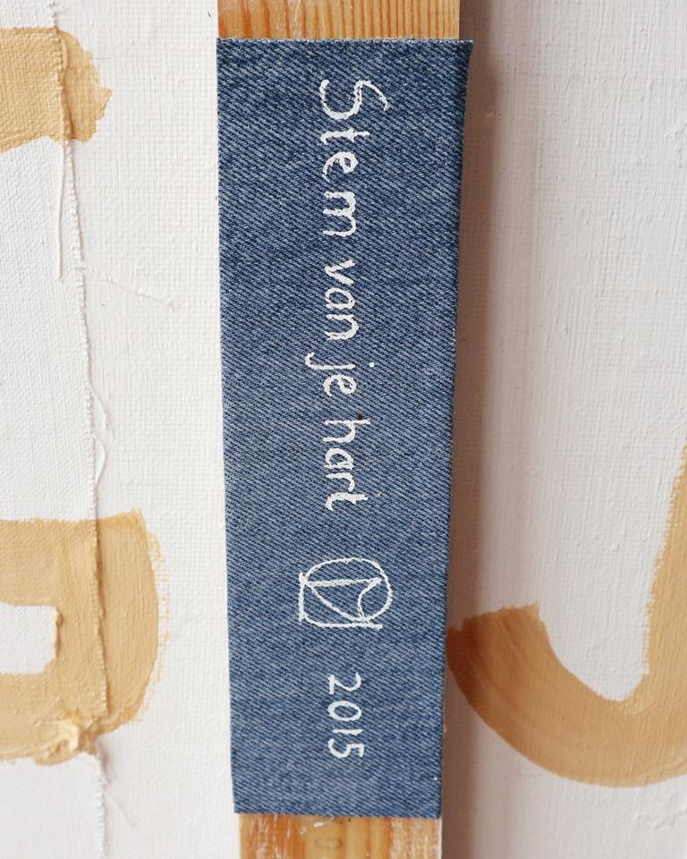Abstract schilderij Stem van je hart - Detail label achterzijde - Marloes van Zoelen