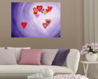Schilderij met hartjes - Hartig hart II boven een lichte bank