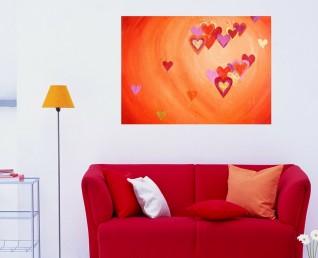 Schilderij hartjes - Hartig hart boven een rode bank