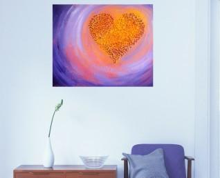 Schilderij Pittig hart II boven een dressoir in een hal