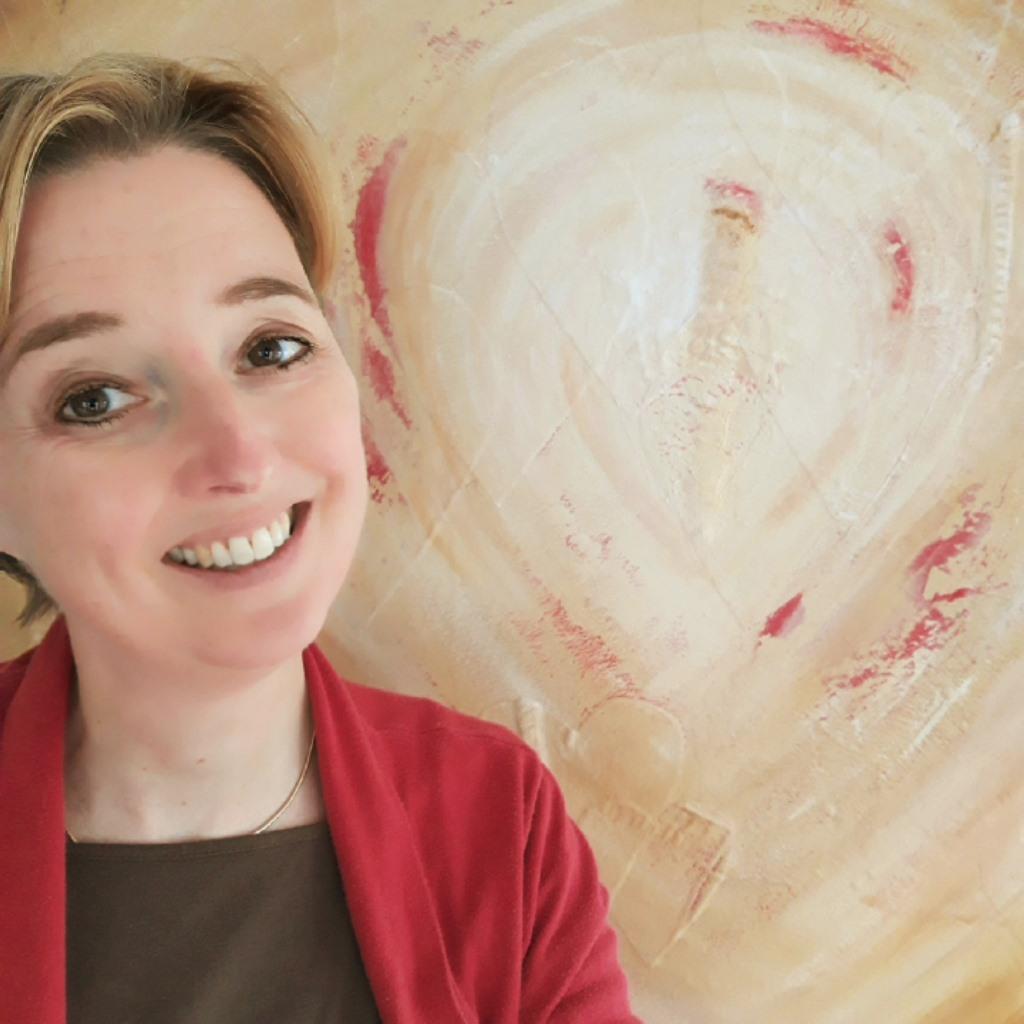 Selfie met schilderij Stem van je hart - Marloes van Zoelen