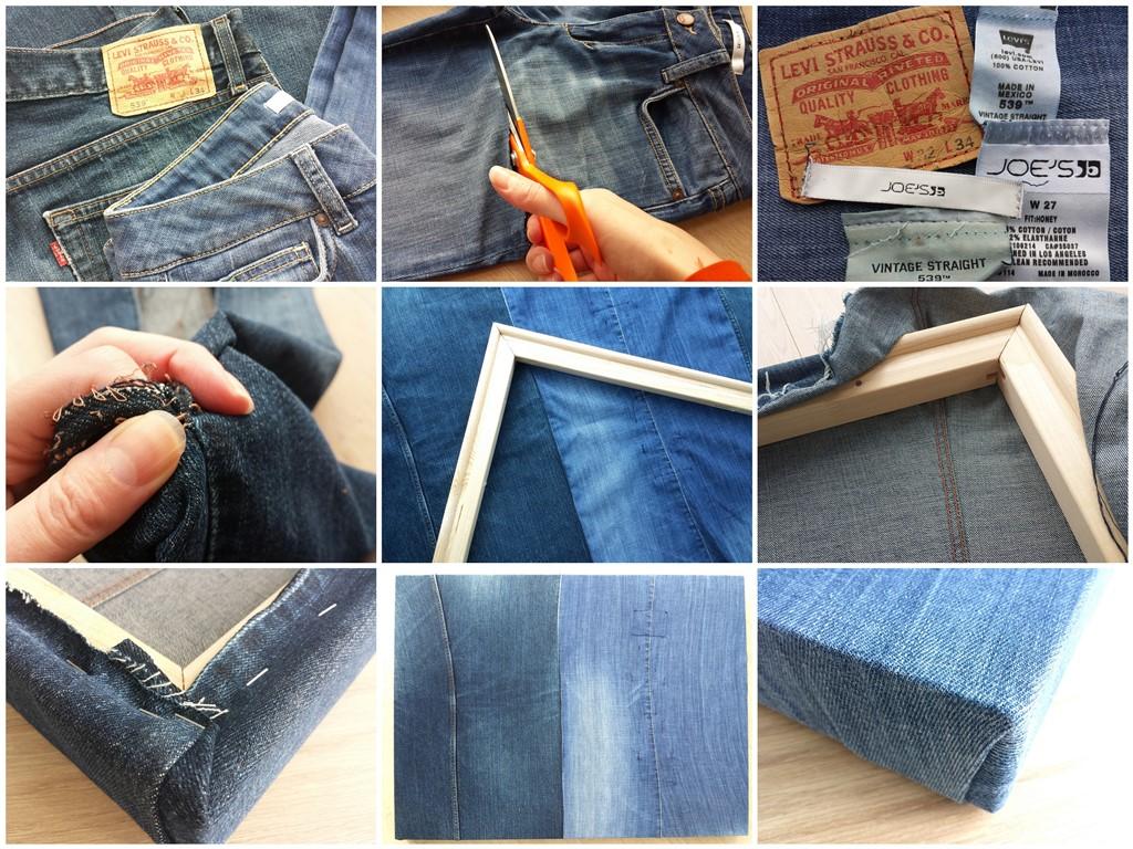 Een schilderscanvas maken van oude spijkerbroeken - Collage making of