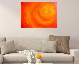 Oranje schilderij Lichte scherven - abstract, kleurrijk 3D schilderij in met echte scherven
