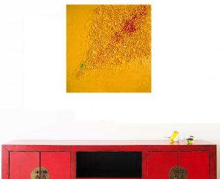 Abstract schilderij met reliëf Droom in scherven III boven rood dressoir