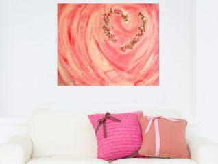 Herinneringsschilderij Gebroken hart boven witte bank