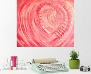 Schilderij met groot hart Doorboord hart boven bureau