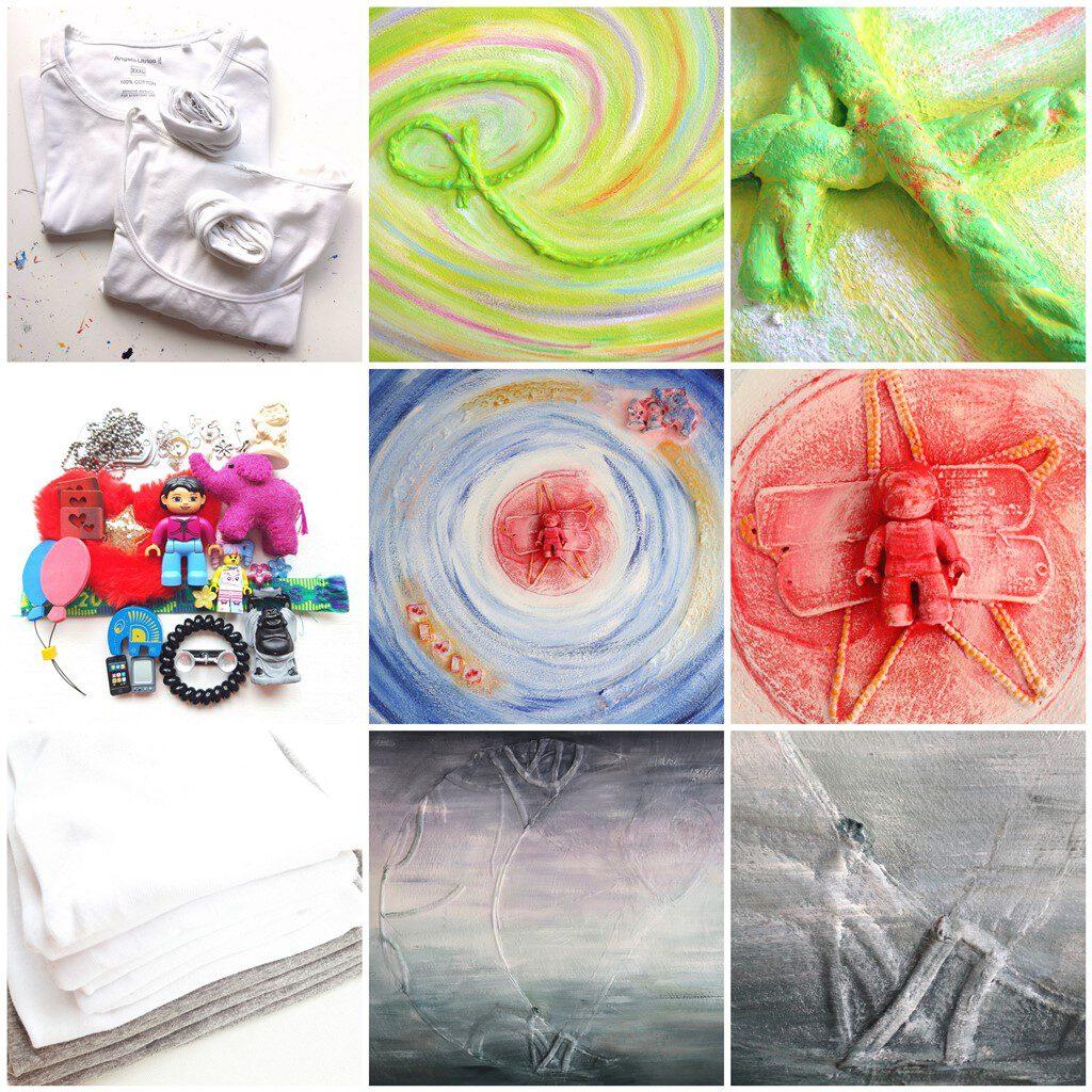 Herinneringsschilderij laten maken - voorbeelden gebruik materialen en voorwerpjes