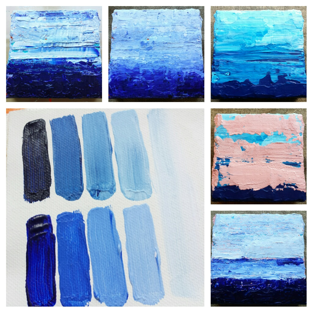 Blauw schilderij laten maken - kleuren testen
