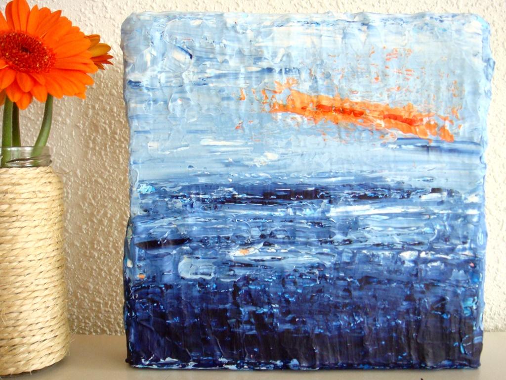 Schilderij van de zee - Abstract klein schilderijtje met reliëf van 20 x 20 cm