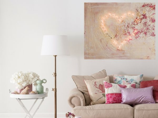 Schilderij Verlicht hart in warm licht interieur