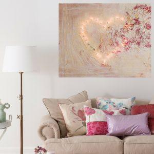 Schilderij Verlicht hart in warm licht interieur - schilderij in opdracht laten maken