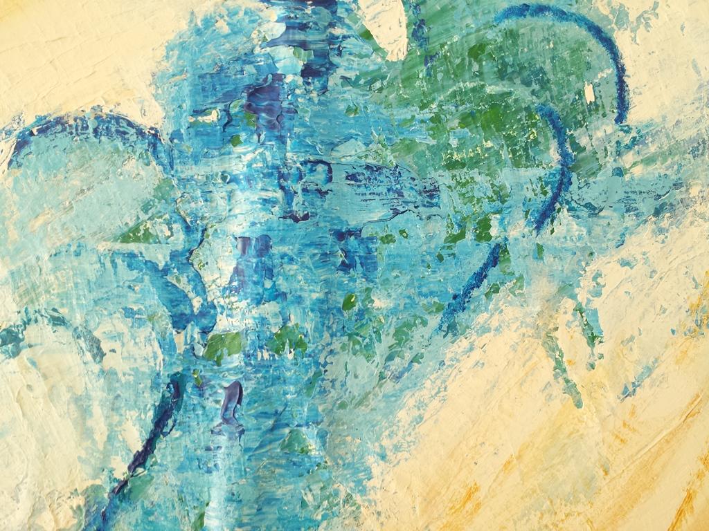 Schilderij Zee van warmte - Marloes van Zoelen - Detail the making of