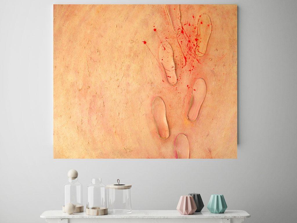 Schilderij zacht roze - Stapje voor stapje boven dressoir - Marloes van Zoelen