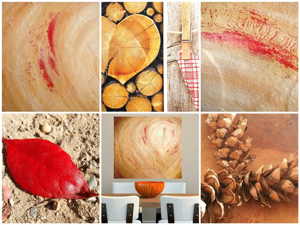 Schilderij aardetinten - Spoor van liefde I is een abstract schilderij van 80 x 90 cm in aardetinten en rood met stoffen harten erin verwerkt.