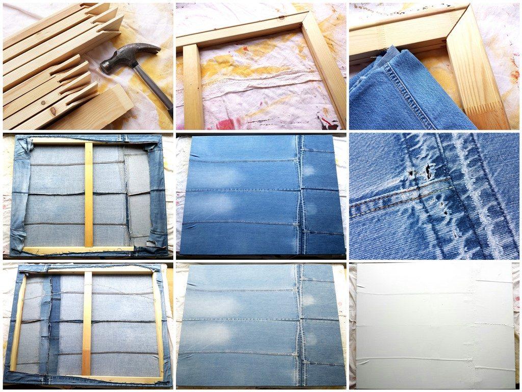 Schilderij Zee van vrijheid - Collage totstandkoming schilderscanvas van oude spijkerbroeken