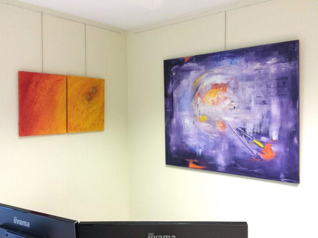 Schilderij Doorbroken cirkel en Vurige ode op kantoor