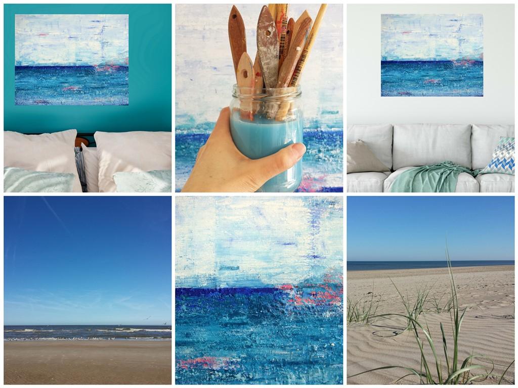 Zee van vrijheid is een schilderij met structuur van 80 x 100 cm in blauw, turquoise, roze en wit met zand van Texel erin verwerkt - Marloes van Zoelen - sfeercollage