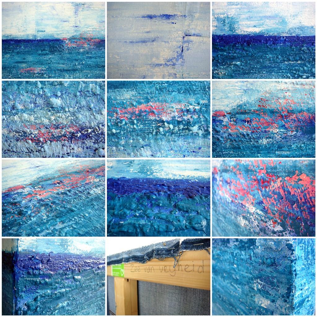 Schilderij van de zee 'Zee van vrijheid' is een schilderij met structuur van 80 x 100 cm in blauw, turquoise, roze en wit met zand van Texel erin verwerkt - Marloes van Zoelen - collage details