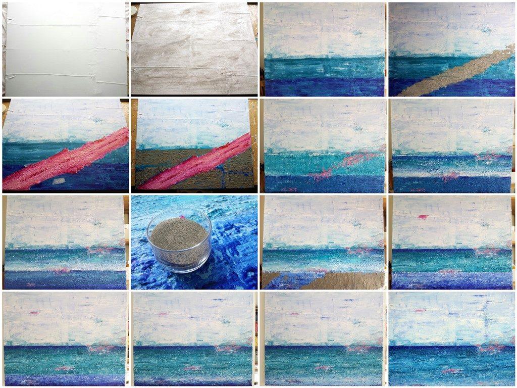Schilderij Zee van vrijheid - Marloes van Zoelen - totstandkoming