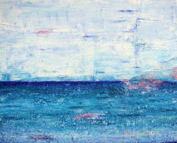Zee van vrijheid is een schilderij met structuur van 80 x 100 cm in blauw, turquoise, roze en wit met zand van Texel erin verwerkt - Marloes van Zoelen