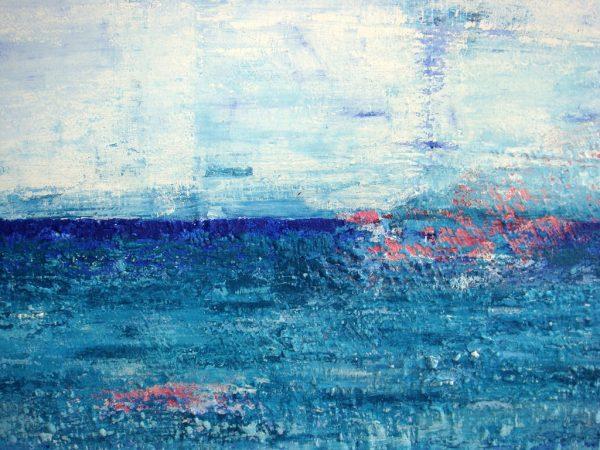 Detail uit Zee van vrijheid: een schilderij met structuur van 80 x 100 cm in blauw, turquoise, roze en wit met zand van Texel erin verwerkt - Marloes van Zoelen