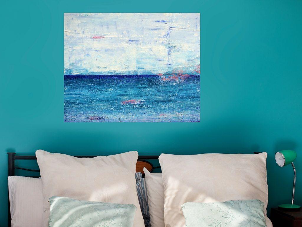 Schilderij van de zee 'Zee van vrijheid' is een schilderij met structuur van 80 x 100 cm in blauw, turquoise, roze en wit met zand van Texel erin verwerkt - Marloes van Zoelen