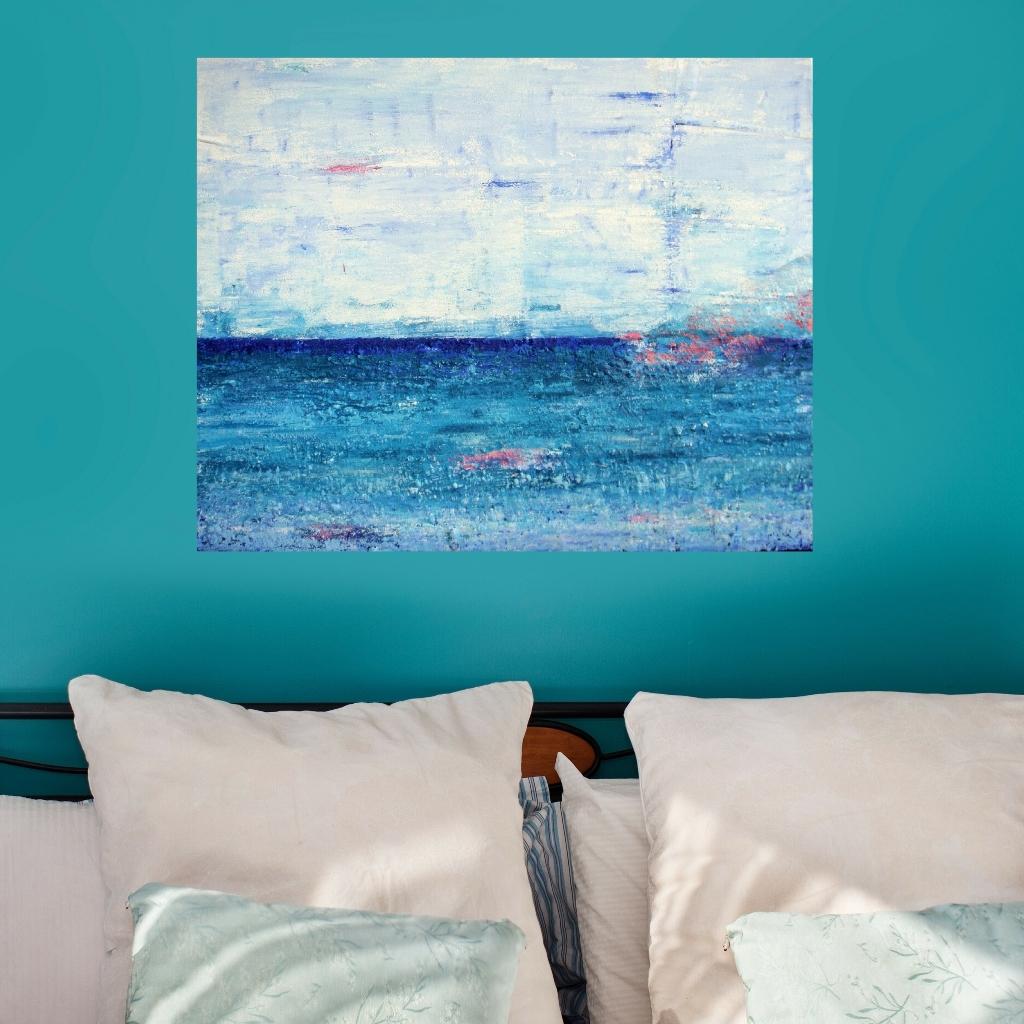 Zee van vrijheid is een abstract schilderij van 80 x 100 cm in blauw, turquoise, roze en wit met zand van Texel erin verwerkt