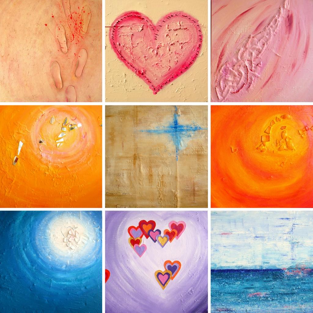 Kleurrijke abstracte schilderijen met structuur - Marloes van Zoelen