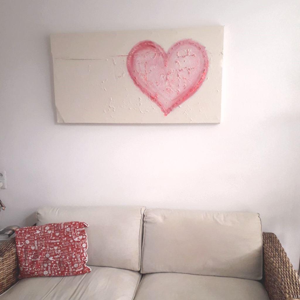 Schilderij Hart van spijkers bij de klant thuis