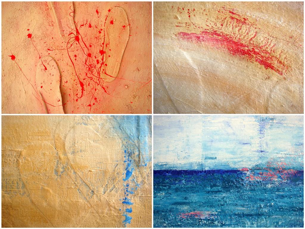 Collage met voorbeelden van details uit een 3D schilderij