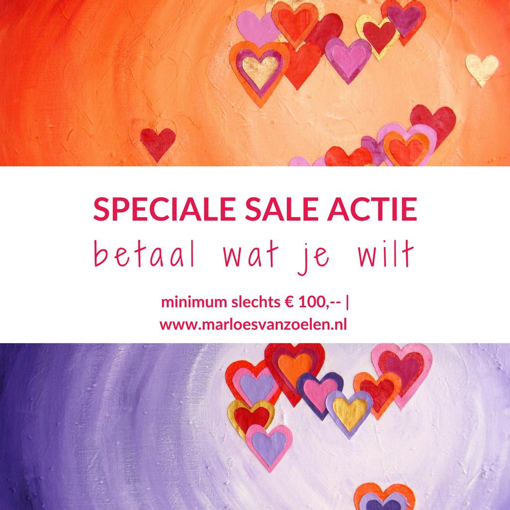 Bijzondere kleurrijke schilderijen te koop - Sale - Hartig hart - Marloes van Zoelen
