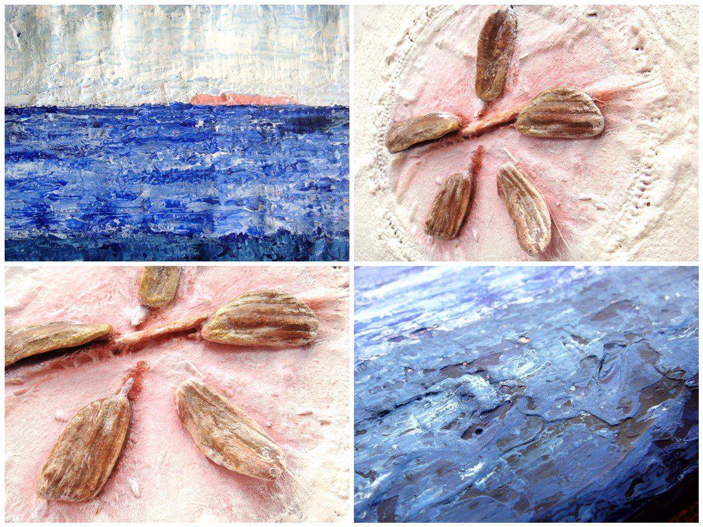 Schilderij natuurlijke materialen - Voorbeelden drijfhout schelpjes veertjes