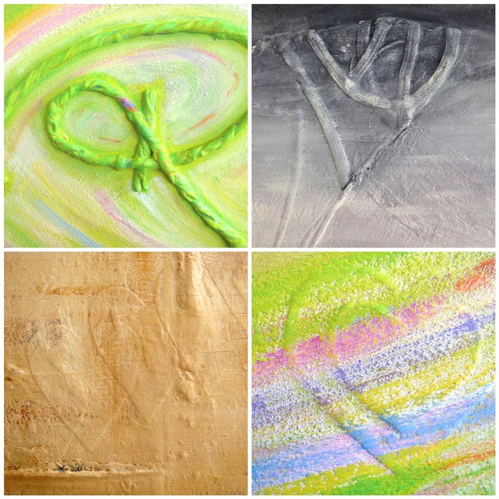 Details uit schilderijen op maat met materialen - Voorbeelden gebruik t shirt stof