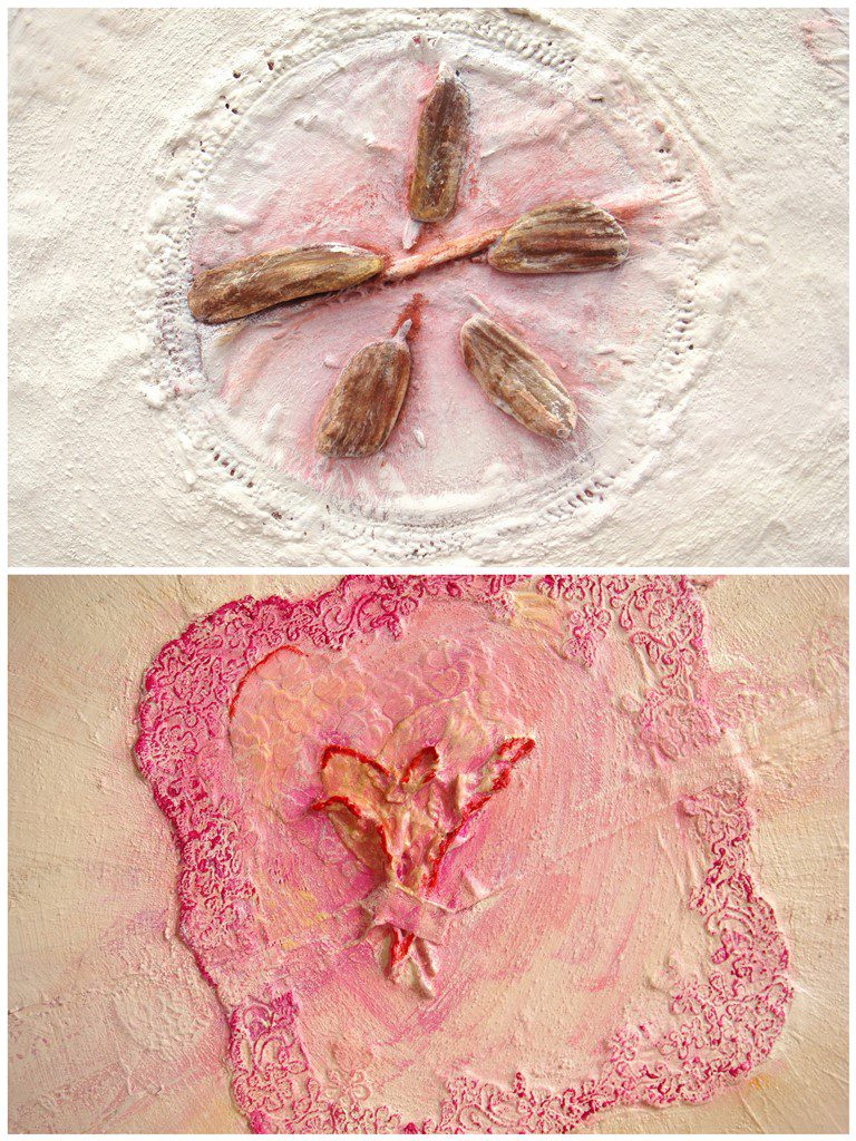 Details uit schilderijen op maat met materialen - Voorbeelden zakdoekjes