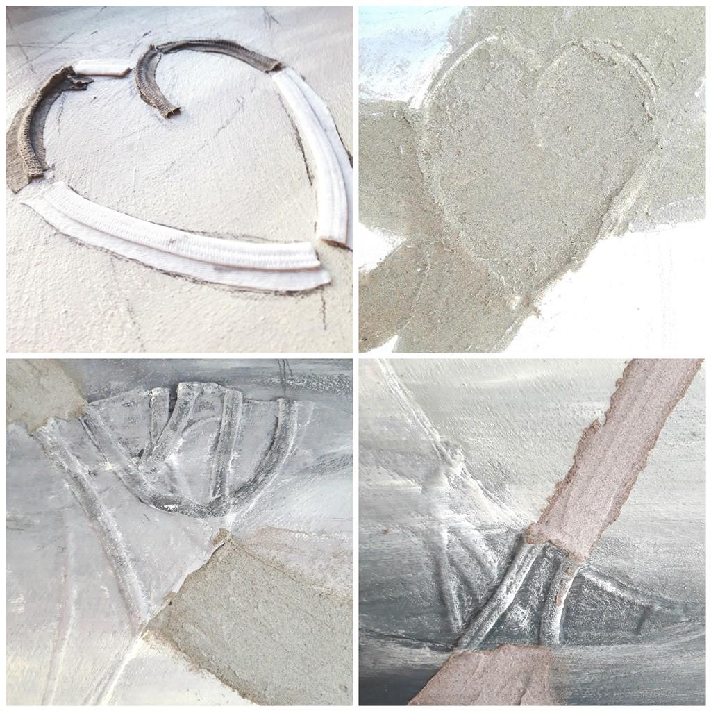 Herinneringen schilderij - Hart van stof en extra zand aanbrengen
