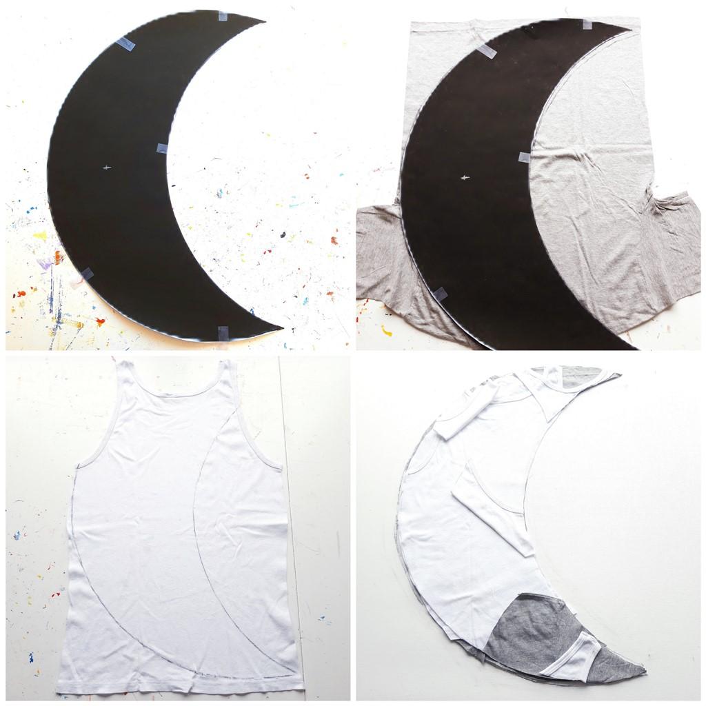 Herinneringen schilderij - Maan maken met shirts van overledene