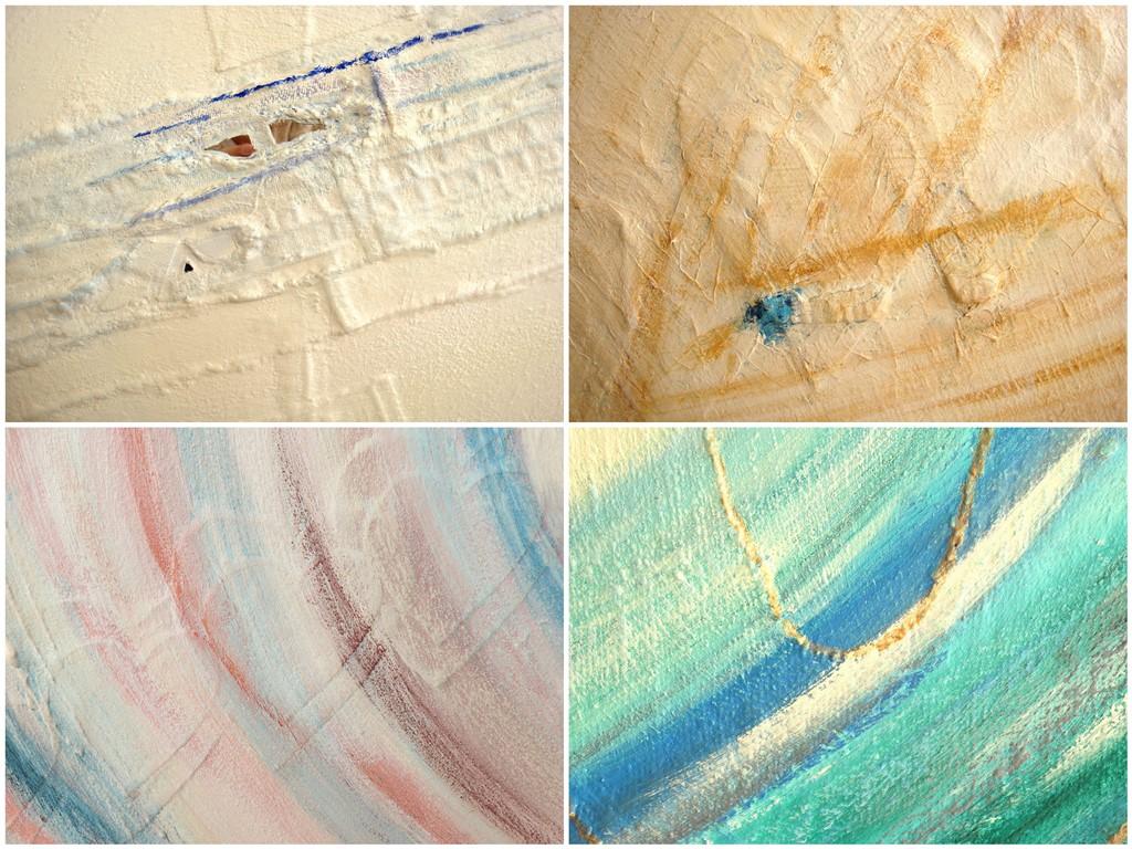 Schilderij natuurlijke materialen - Voorbeelden van gebruik spijkerstof