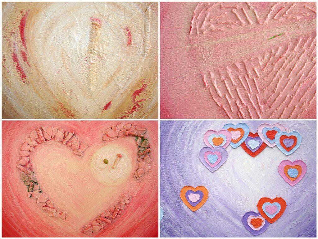 Bijzondere abstracte schilderijen met reliëf - Voorbeelden gebruik hartvorm