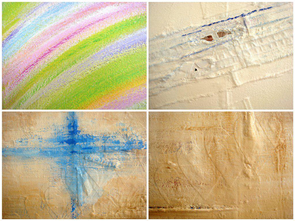 Bijzondere abstracte schilderijen met reliëf - Voorbeelden lijnenspel