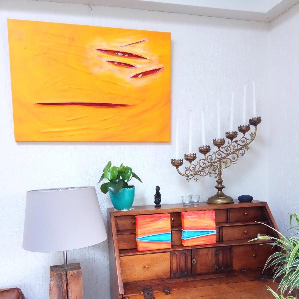 Schilderij Licht spiegelbeeld en tweeluik Kus van de zomer bij de klant thuis