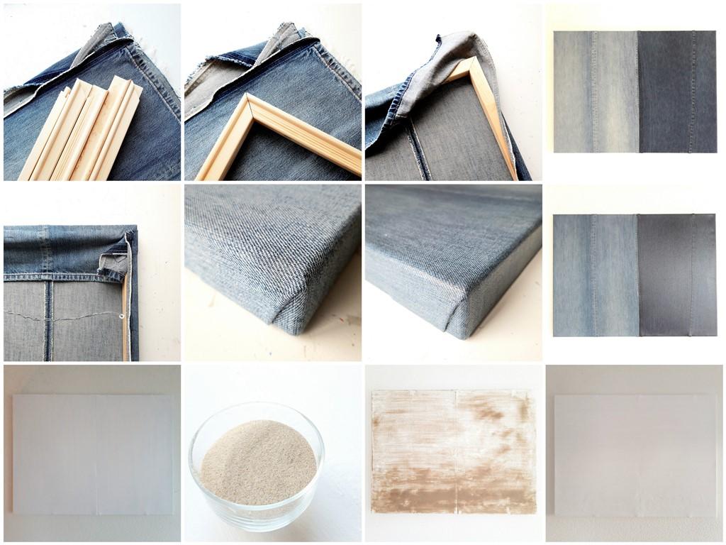 Oude spijkerbroeken hergebruiken als schilderscanvas - The making of - Marloes van Zoelen