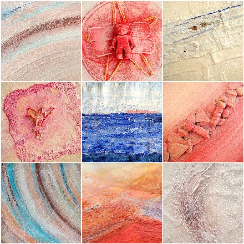 Schilderij met natuurlijke materialen - Voorbeelden materie en voorwerpjes in een schilderij verwerken