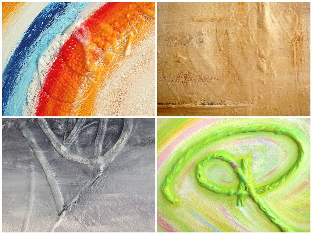 Schilderij natuurlijke materialen - voorbeelden gebruik t shirt stof